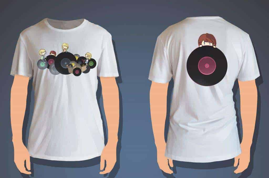 Kids Holding Vinyl Printed On White Shirt. Vector Design
