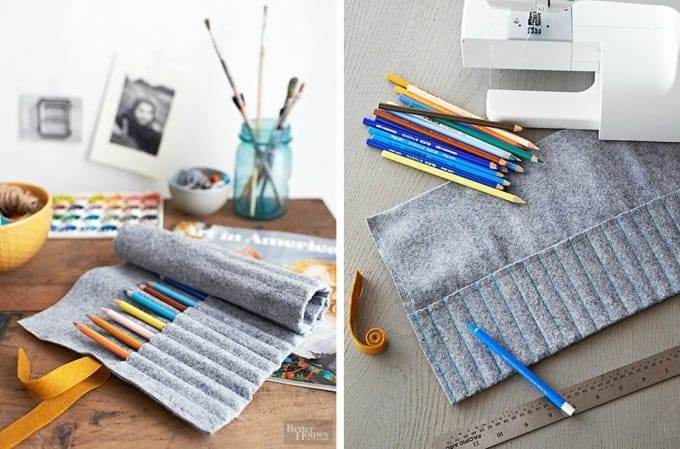 Roll up felt pencil holder