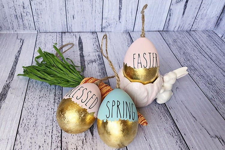 DIY Easy Easter Eggs with Gold Leaf and Vinyl