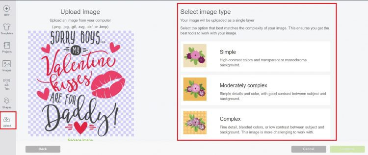 Upload image to Cricut Design Space