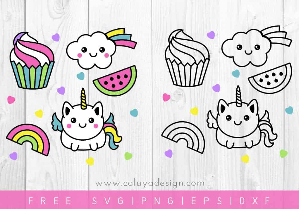 kawaii unicorn svg file set