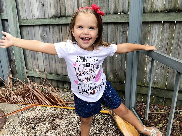 DIY Valentines Vinyl Shirt for Daughters