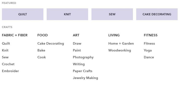 Craftsy Affiliate Program Categories