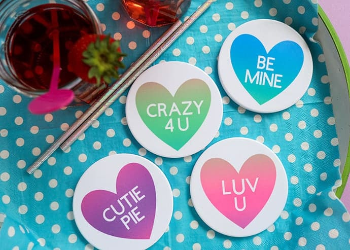infusible ink heart coasters