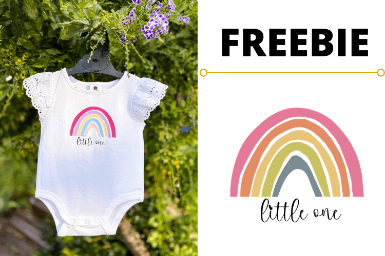 Download FREE Rainbow Little One Baby Onesie SVG Optin Page