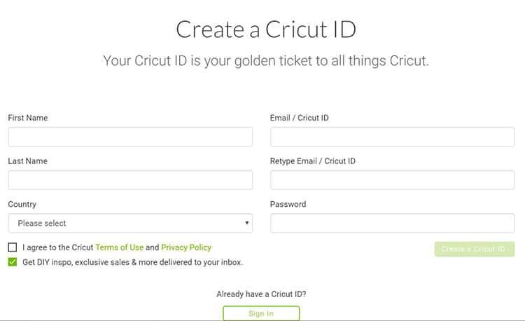 Create your Cricut ID