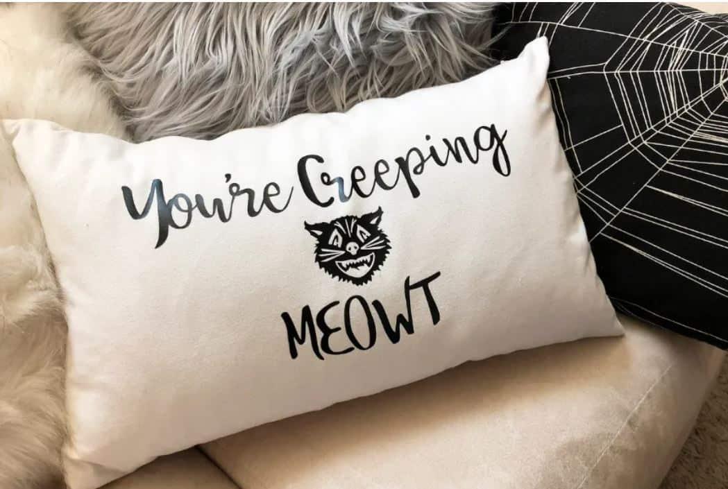 DIY You're Creeping MEOWT Halloween Vinyl Pillow