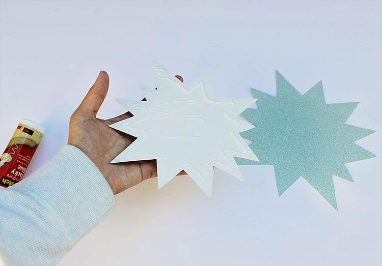 Adding glue to cardstock pieces