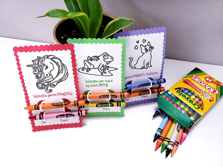feature - valentines coloring cards with crayons for kids