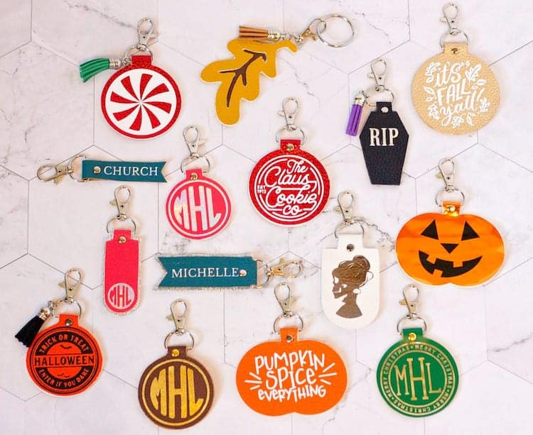 Faux Leather Keychains