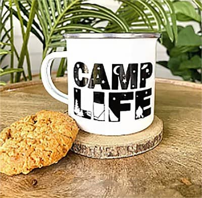 Vinyl on Steel Camping Mug