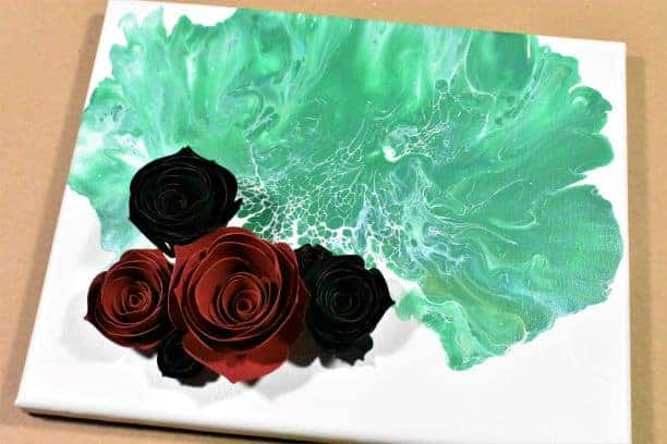 Acrylic-Paint-Pouring-with-3D-Flowers