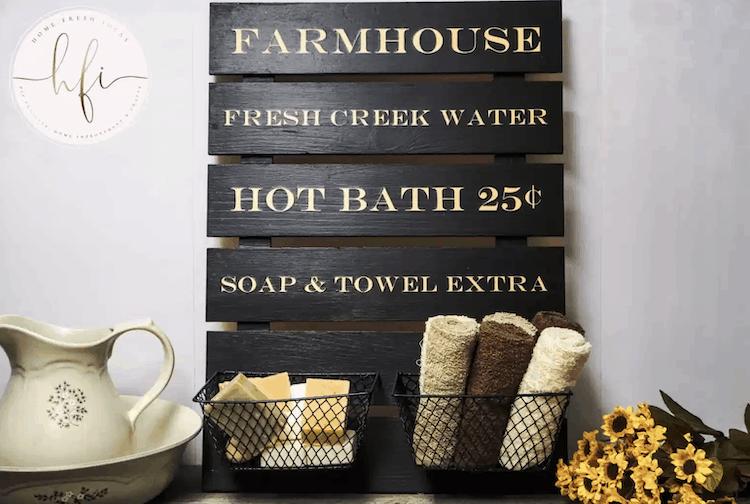 Farmhouse Bathroom Sign