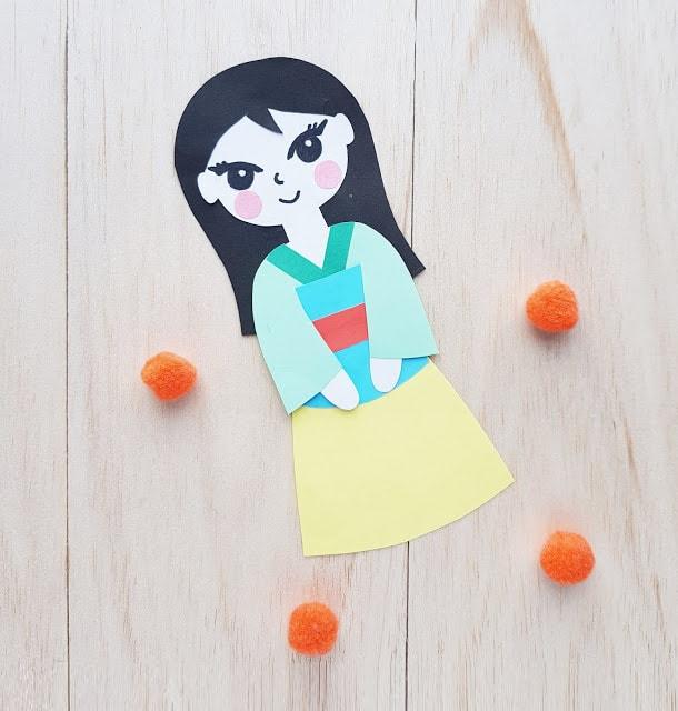 Princess Mulan Paper Craft Doll for Kids to Make
